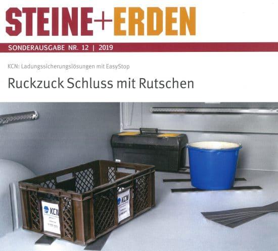 Steine+Erden Sonderausgabe 2019: Ladungssicherungslösungen mit KCN EasyStop