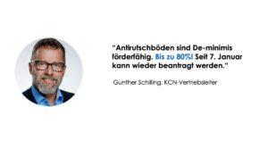 Porträtfoto und Zitat des KCN-Vertriebsleiters G. Schilling zum Thema De-minimis für Antirutschböden.