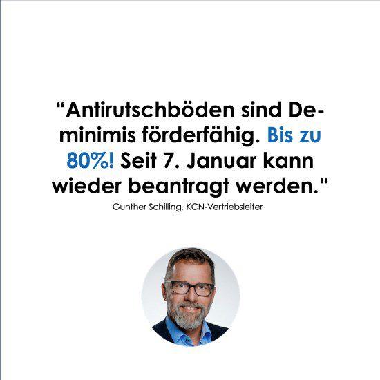 Porträtfoto des KCN-Vertriebsleiters G. Schilling mit Zitat zum Thema De-minimis