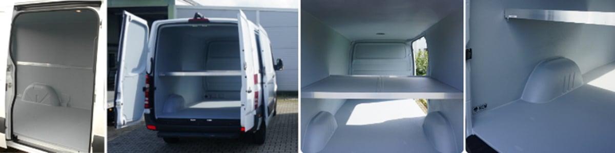 Durchgehende Kunststoffbeschichtung von Boden bis zur Decke: Ein Hygieneausbau macht den Laderaum von Bäckereifahrzeugen pflegeleicht.