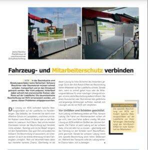 """Presseartikel """"Fahrzeug- und Mitarbeiterschutz verbinden"""" im Magazin 'BauSicherheit' (Ausgabe 2-2021), KCN Kunststoffbeschichtung und Antirutschboden"""
