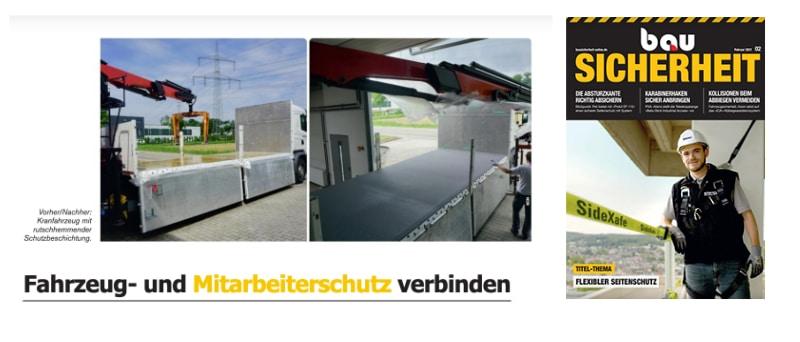 """Presseartikel-Aufmacher mit Text """"Fahrzeug- und Mitarbeiterschutz verbinden"""" und Titel des Magazins 'BauSicherheit' (Februar-Ausgabe 2021)."""