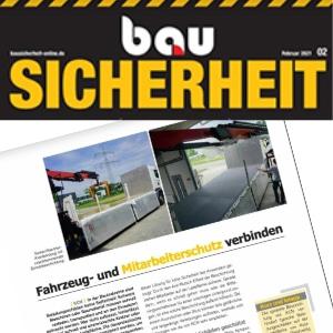 """Presseartikel """"Fahrzeug- und Mitarbeiterschutz verbinden"""" im Magazin """"BauSicherheit"""" (Ausgabe 2-2021), KCN Kunststoffbeschichtung und Antirutschboden"""