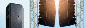 Vergleich Lautsprecher Gehäuse beschichtet und ohne Beschichtung, daneben PA-Lautsprecher